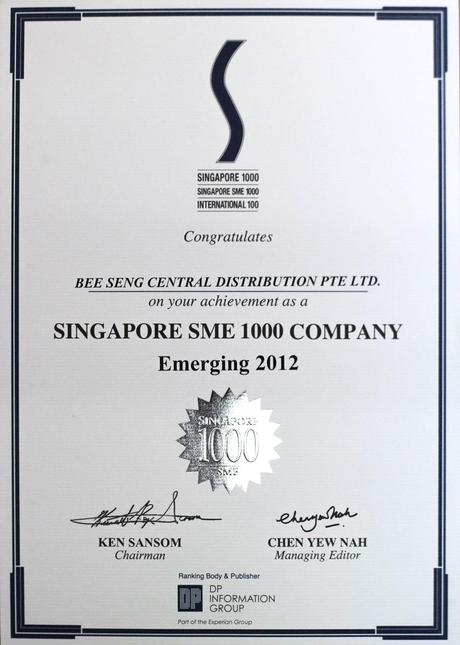 Singapore SME 1000 Company Emerging 2012